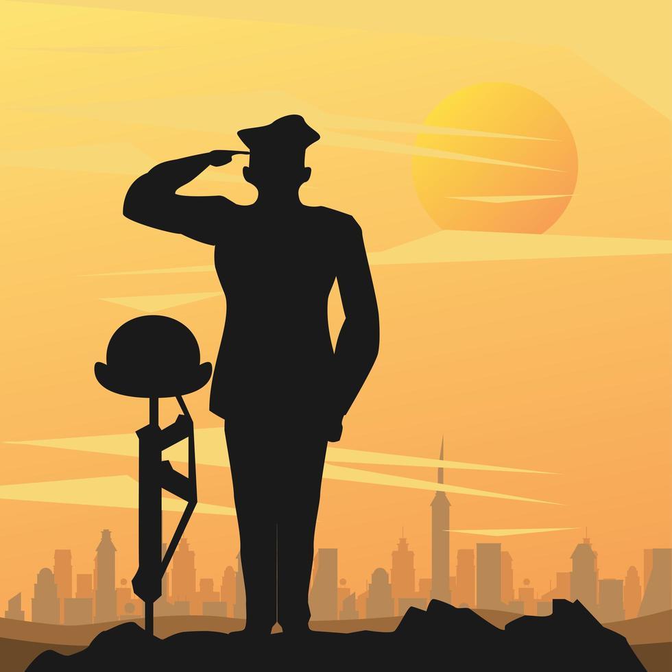 Militäroffizier mit Helm auf Gewehr auf Sonnenuntergangsszene vektor