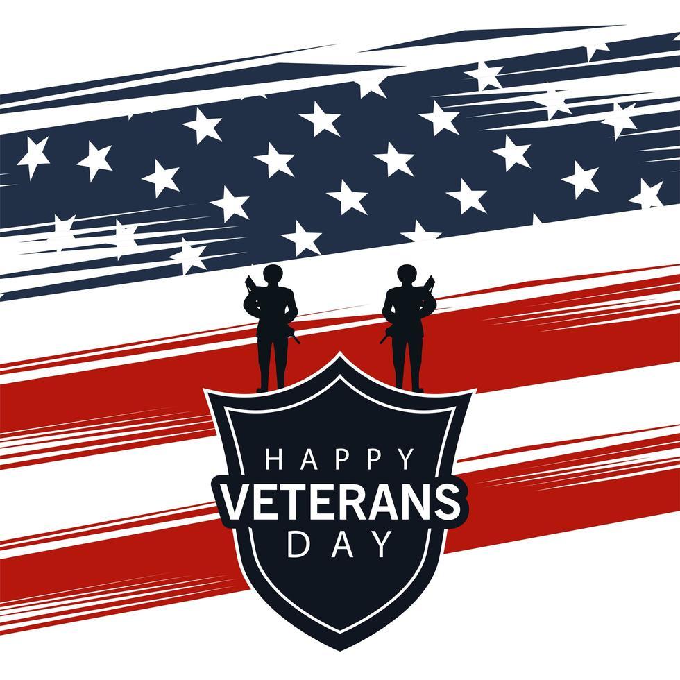 Glücklicher Veteranentagbeschriftung mit Schild und Soldaten auf USA-Flaggenhintergrund vektor
