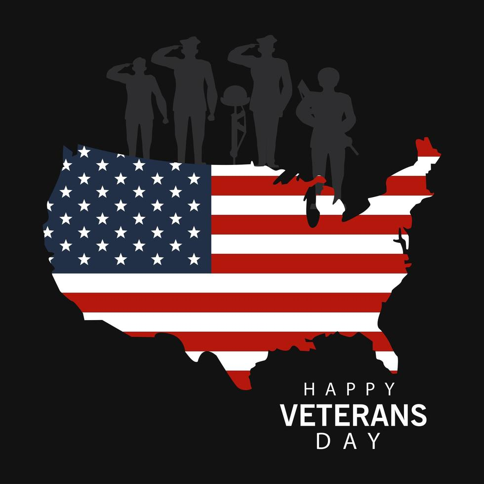 Happy Veterans Day Schriftzug mit Militäroffizieren und USA Karte vektor