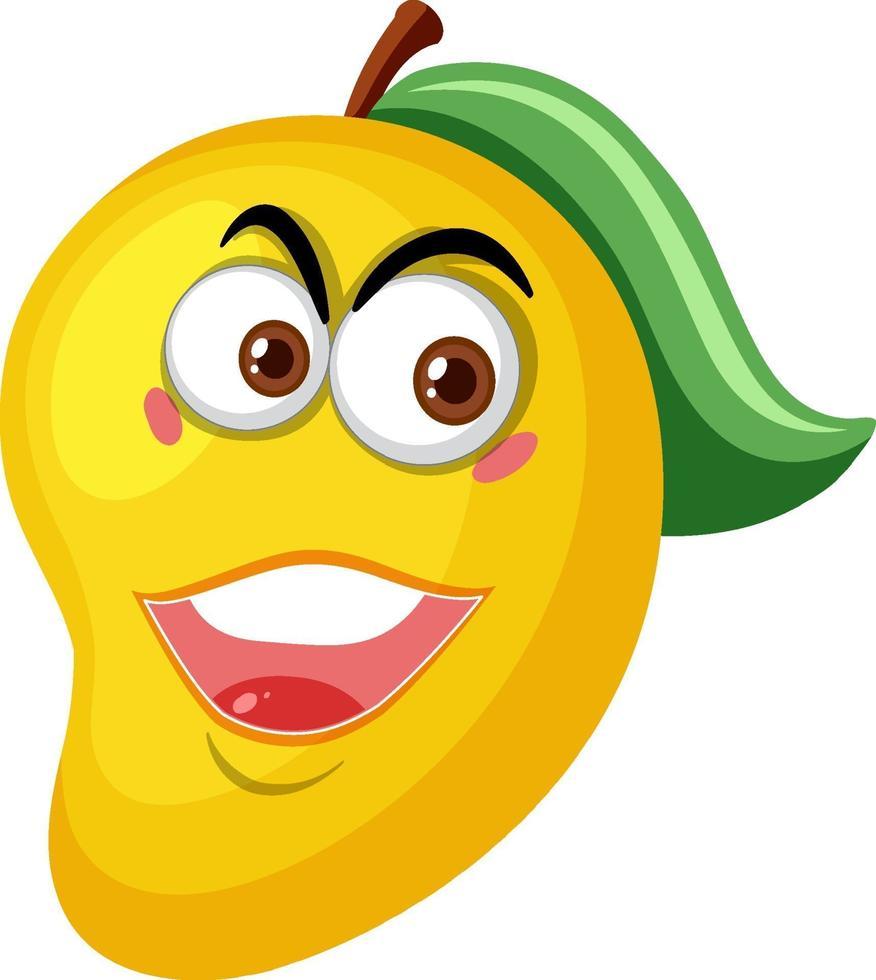 Mango-Zeichentrickfigur mit glücklichem Gesichtsausdruck auf weißem Hintergrund vektor