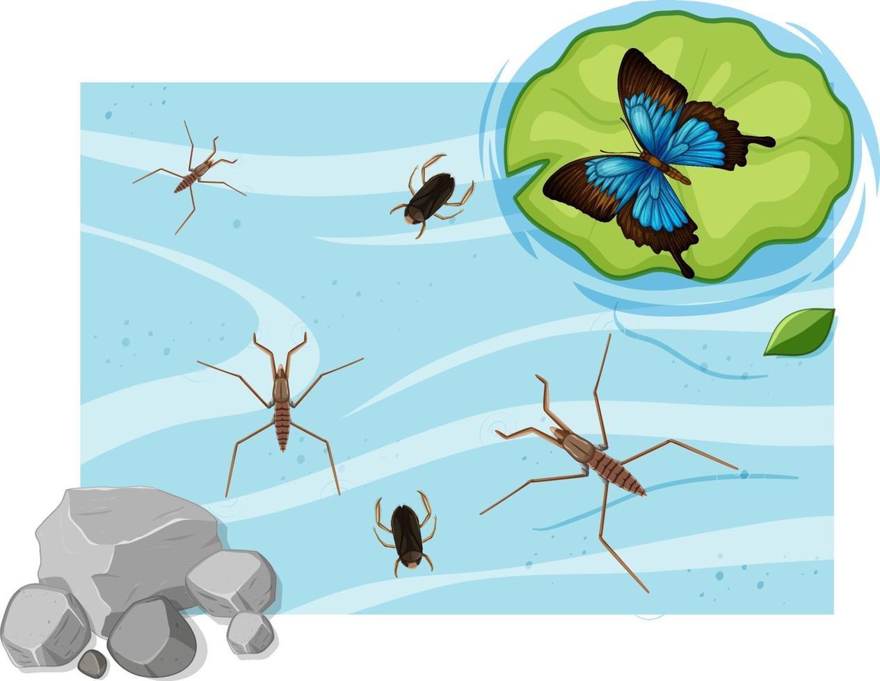 Draufsicht auf Wasserinsekten im Teich vektor