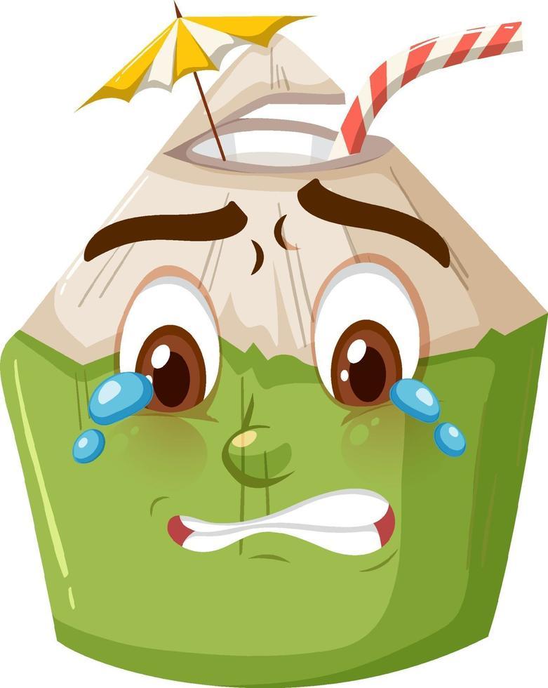 niedliche Kokosnusskarikaturfigur mit weinendem Gesichtsausdruck auf weißem Hintergrund vektor