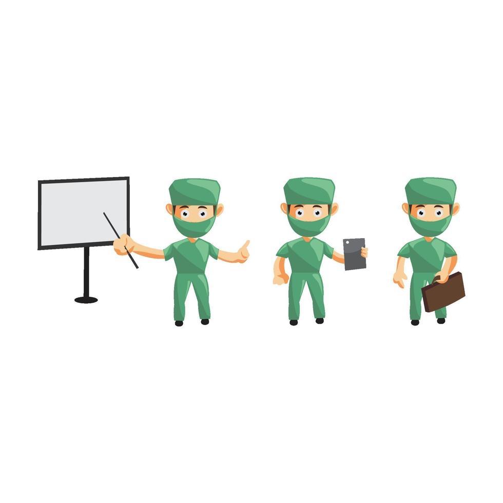 Satz niedliche Cartoon-Krankenschwester in verschiedenen Posen vektor