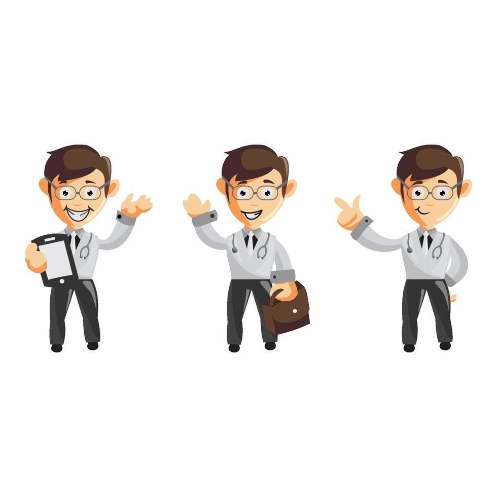 Satz niedlicher Cartoon männlicher Arzt in verschiedenen Posen vektor