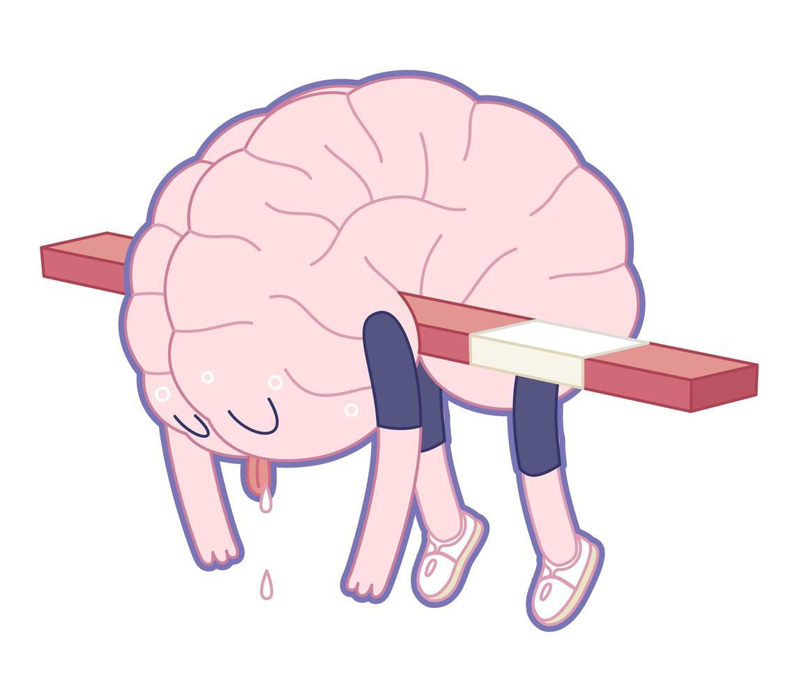 utmattad, hjärnsamling vektor