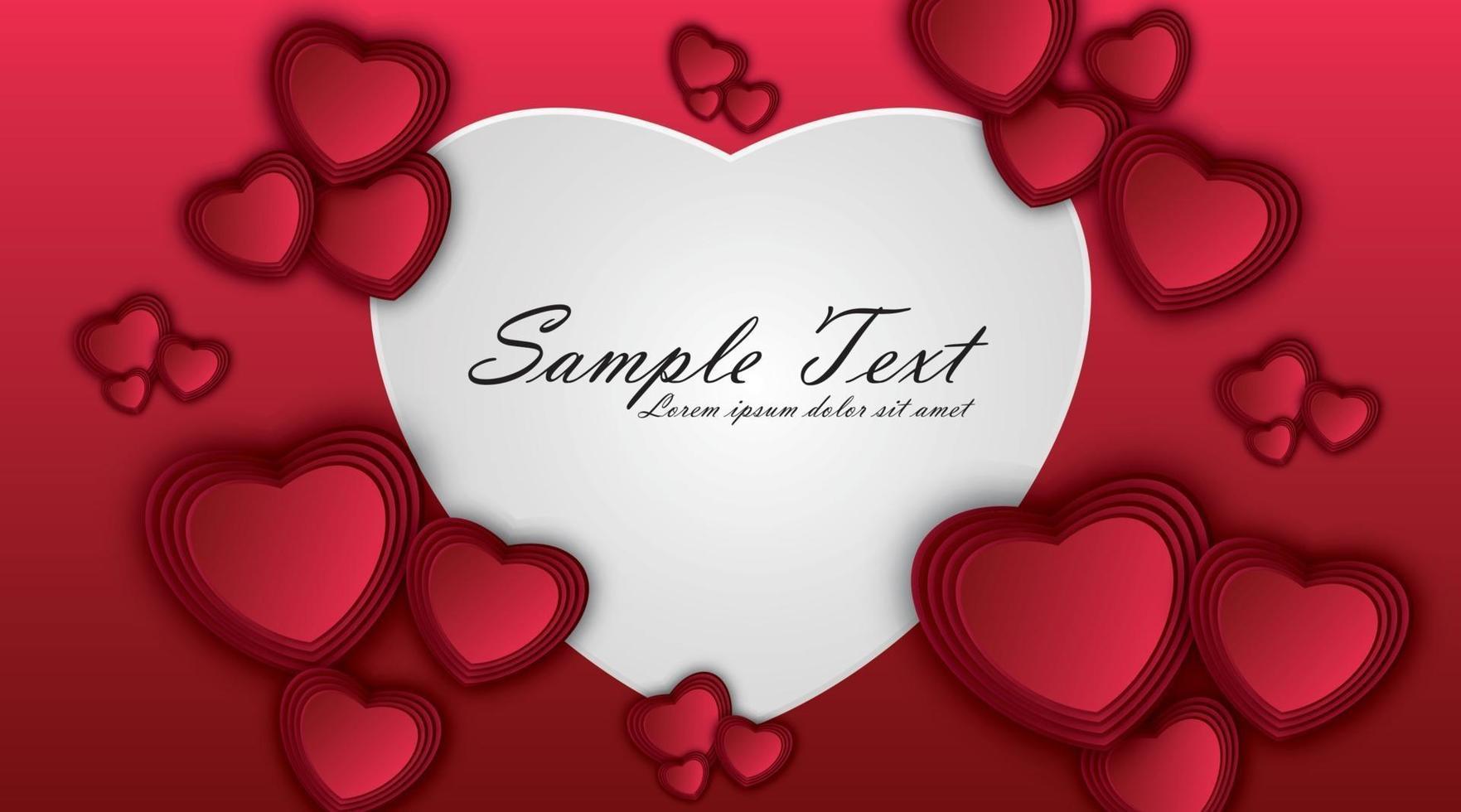 papper hjärtan på röd bakgrund. kärlekssymboler för glad Alla hjärtans dag gratulationskortdesign. vektor illustration.