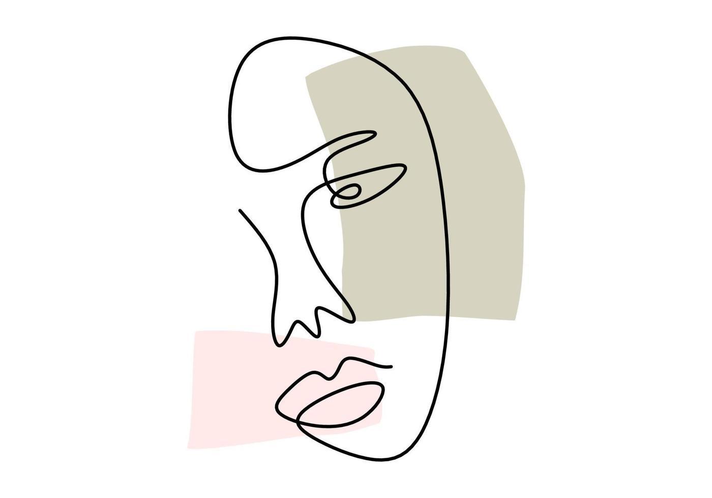 kontinuerlig linje, ritning av ansikten, mode minimalistisk koncept, vektorillustration. kvinna abstrakt ansikte handritad isolerad på vit bakgrund. porträtt en kvinna i modern abstrakt stil vektor