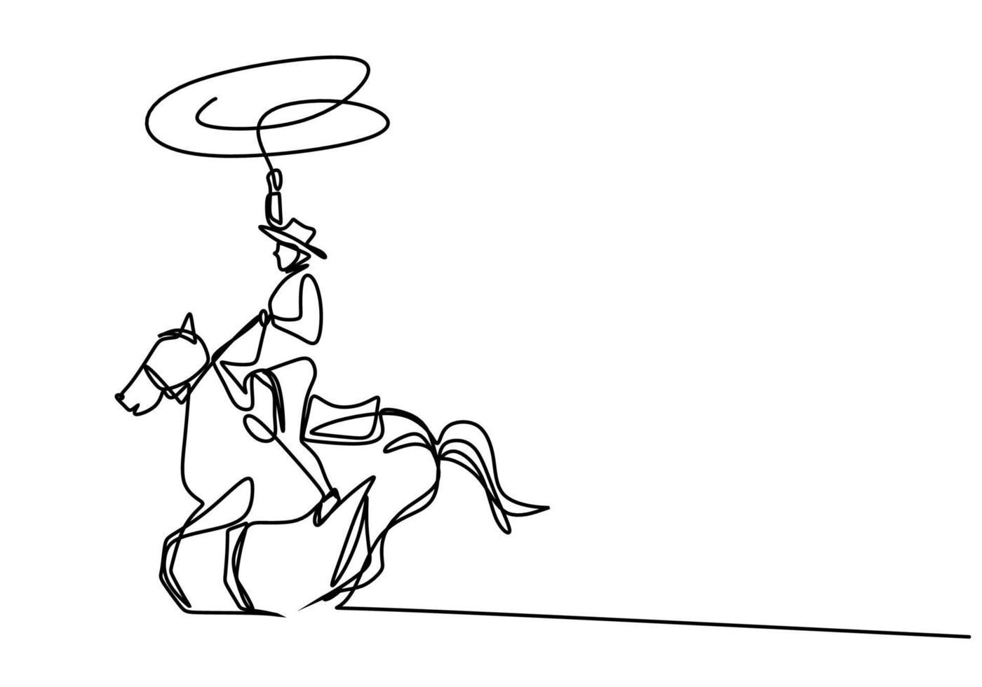 ein durchgehender junger Mann der Zeichenlinie mit einem Cowboyhut, der ein Pferd reitet. ältere Männer stellen Eleganz auf dem minimalistischen Konzept des Pferdes dar, das auf weißem Hintergrund lokalisiert wird. modernes Handzeichnungsdesign vektor