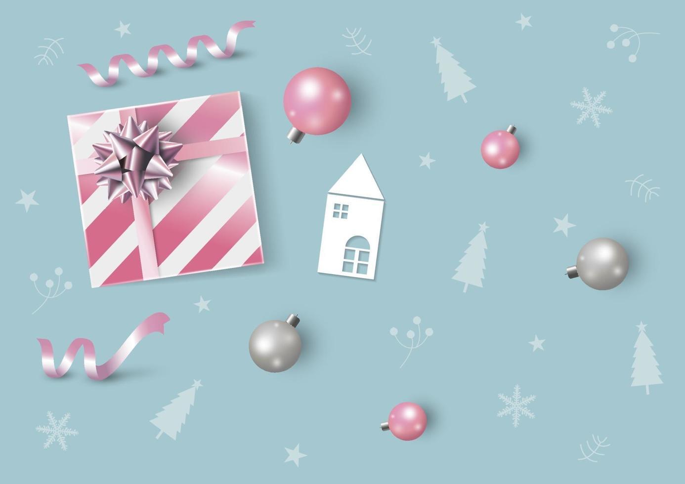 Weihnachts- und Neujahrsentwurf der rosa Geschenkbox und der Weihnachtsball-Vektorillustration vektor