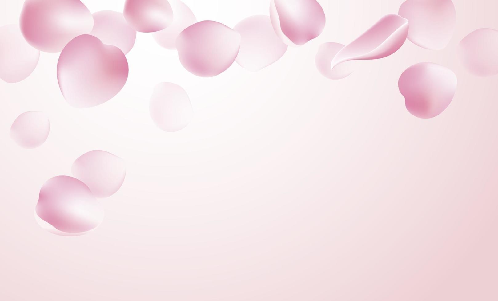 rosenblad faller på rosa bakgrundsvektorillustration vektor