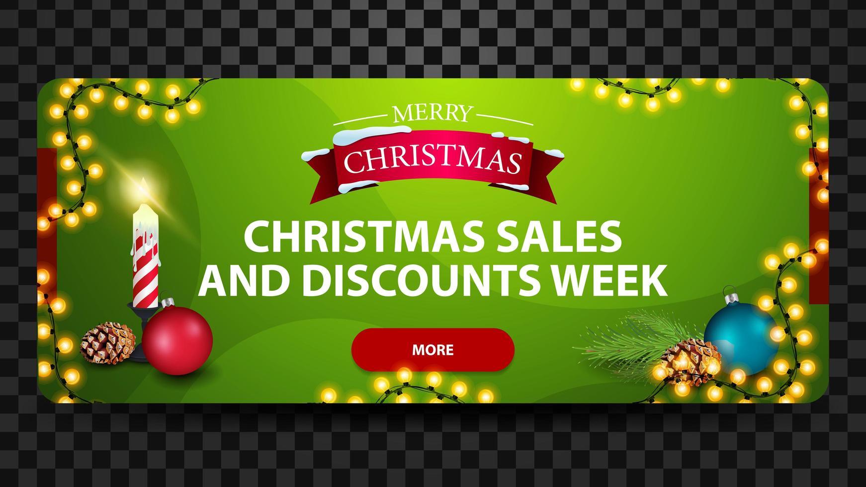 Weihnachtsverkauf und Rabattwoche, grünes helles horizontales modernes Web-Banner mit Knopf, Weihnachtskerze, Weihnachtsball und Kegel vektor