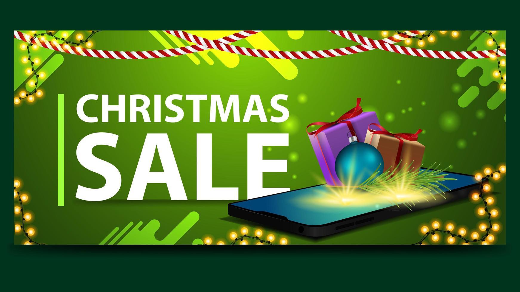 Weihnachtsgrün Rabatt Banner mit Smartphone vektor