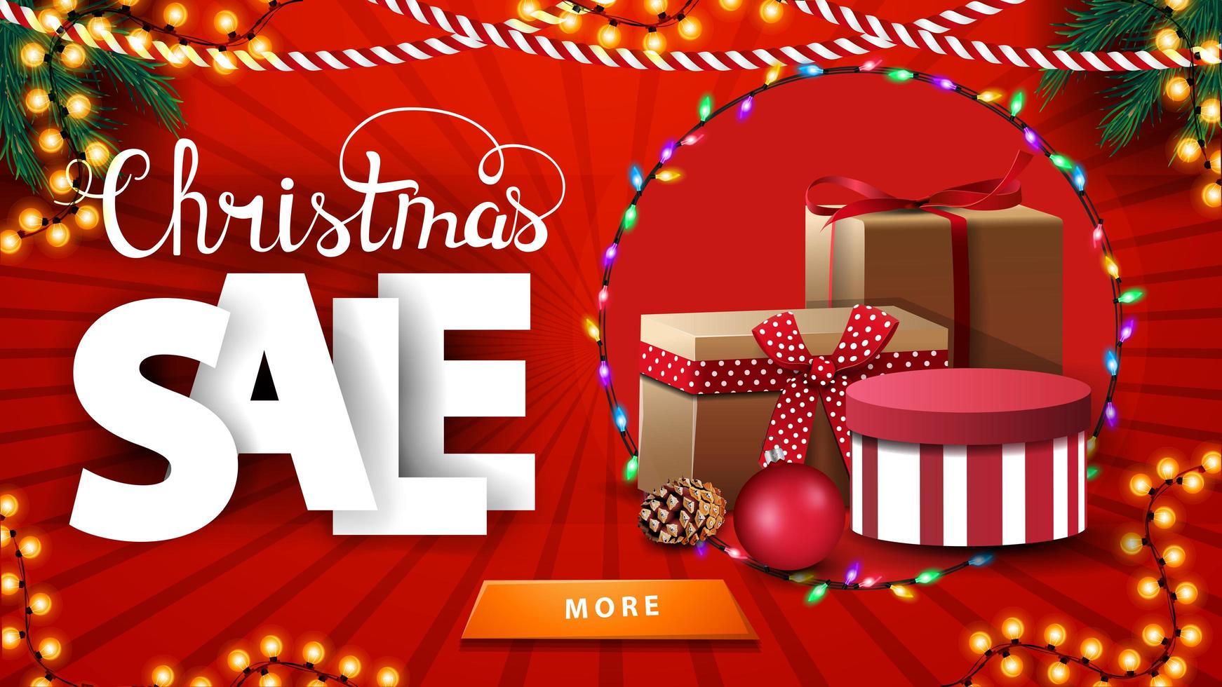 Weihnachtsverkauf, rotes Rabatt helles Banner mit Weihnachtsgirlanden und Geschenken vektor