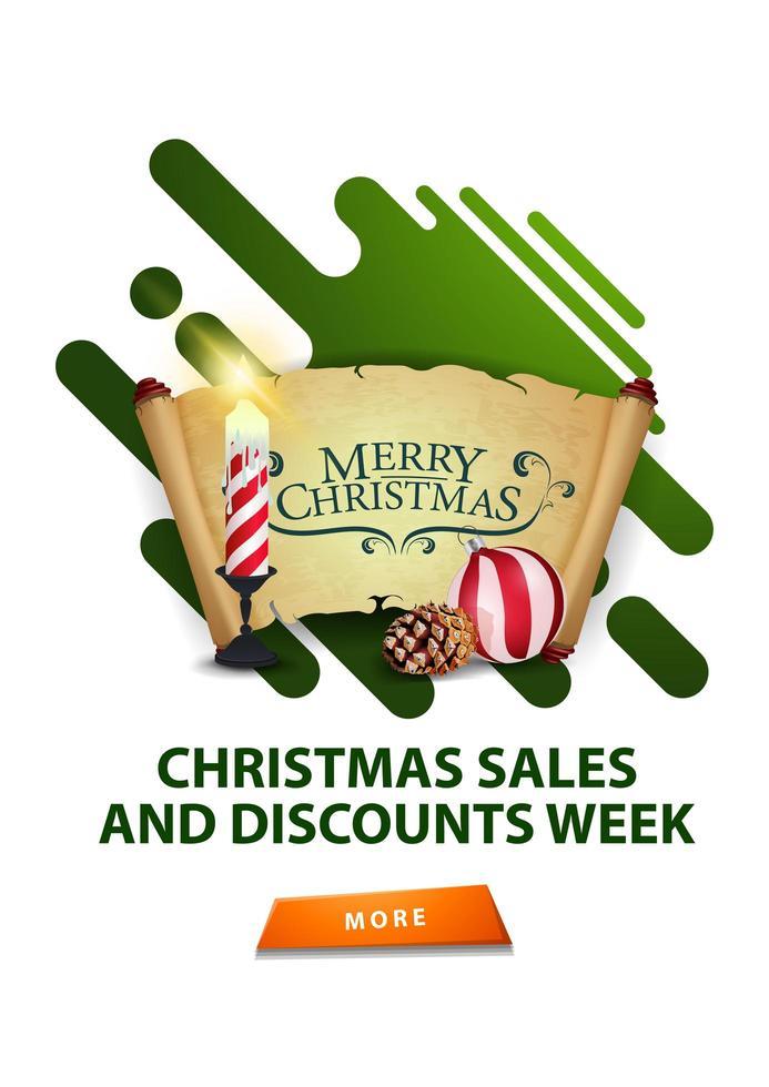 Weihnachtsverkauf und Rabattwoche, modernes weißes minimalistisches Rabattbanner mit Weihnachtskerze, altem Pergament, Weihnachtsball und Kegel vektor