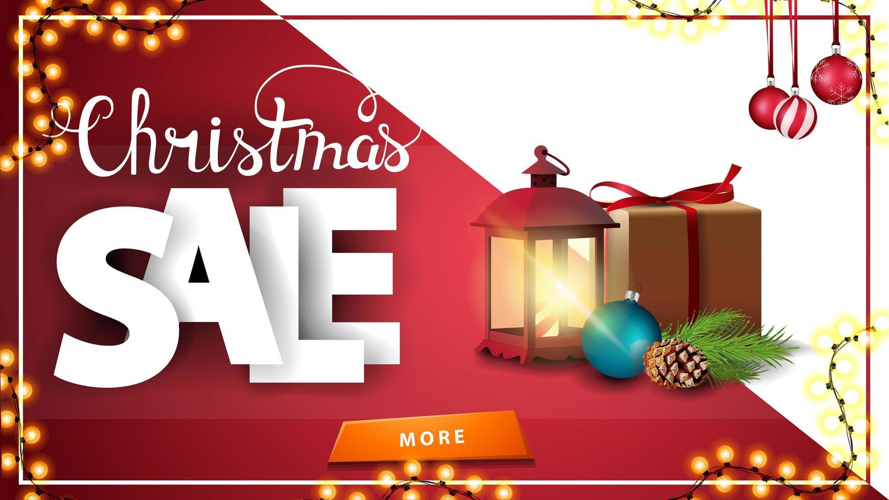 Weihnachtsverkauf, rotes Rabattbanner mit Knopf, Geschenk, Weinleselaterne, Weihnachtsbaumzweig mit einem Kegel und einem Weihnachtsball vektor