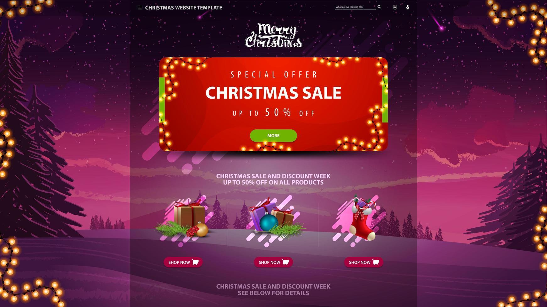 Weihnachtsverkauf Design-Website-Vorlage mit Fichten, Schnee und lila Himmel im Hintergrund vektor