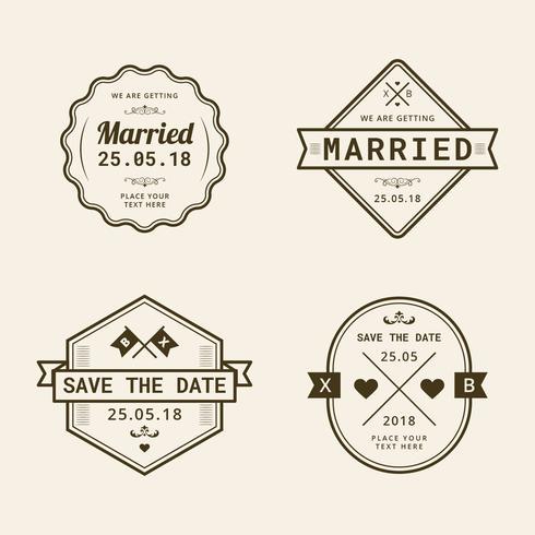 Vintage Hochzeit Stempelkollektion vektor