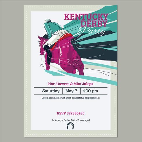 Einladungs-Schablone Kentuckys Derby Party mit dem laufenden laufenden Thoroughbred-Pferdehintergrund vektor