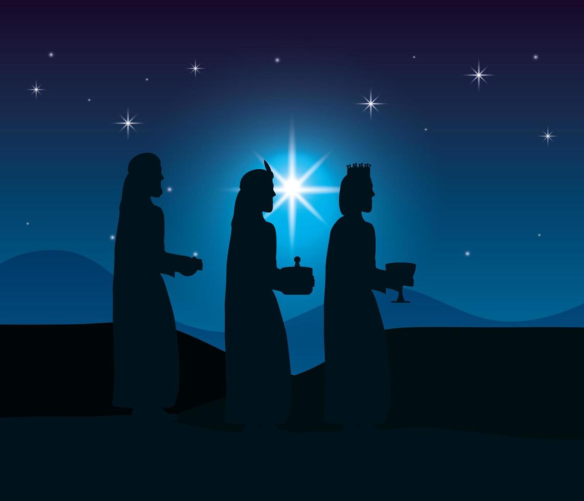 Jesu epifani med magi som tar med gåvor vektor