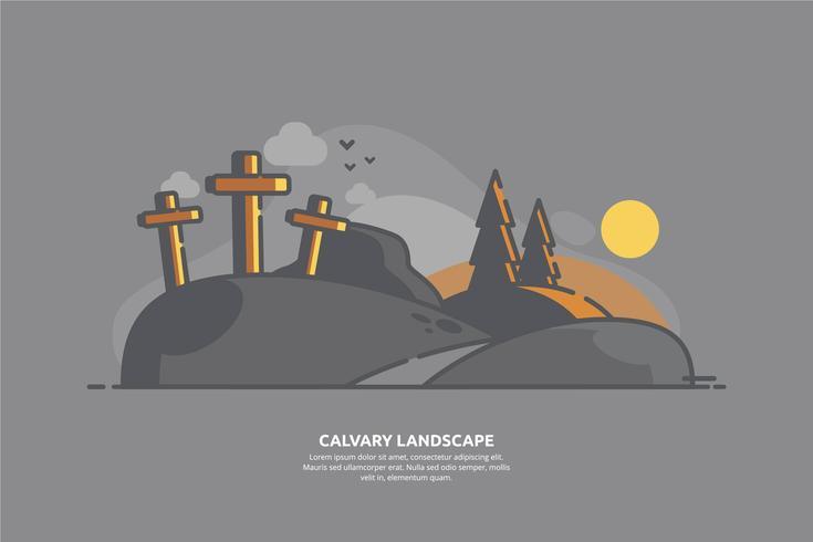 Kalvarienberg-Landschaftsillustration vektor