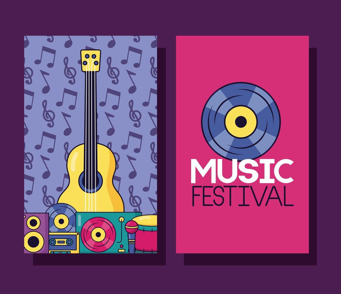 niedliches Musikfestivalplakatset mit Popikonen vektor