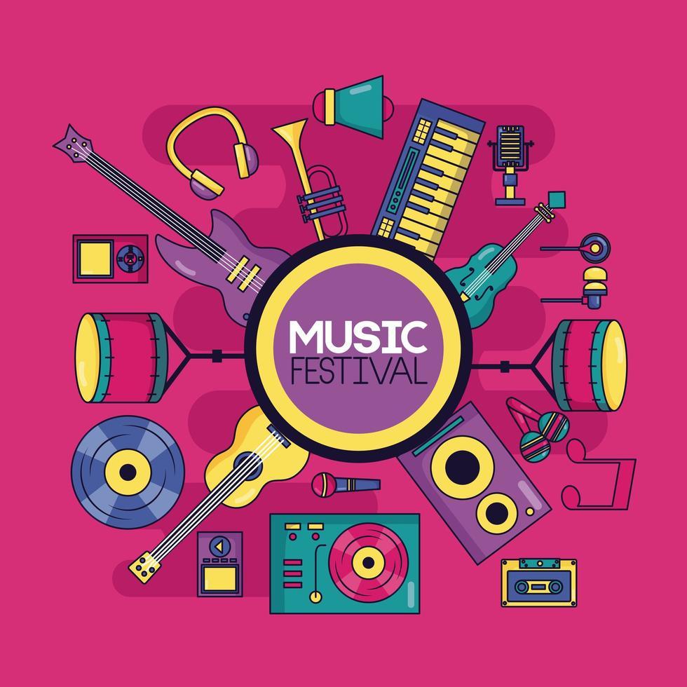 Musikinstrument Festival Hintergrund vektor