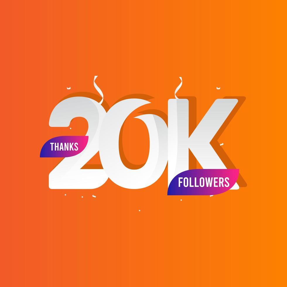 danke 20 k Follower Vektor Vorlage Design Illustration