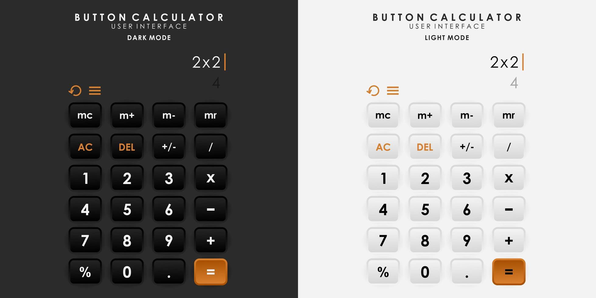 minimalistischer Schaltknopfrechner im Neumorphismus-Design. einfach, modern und elegant. vektor