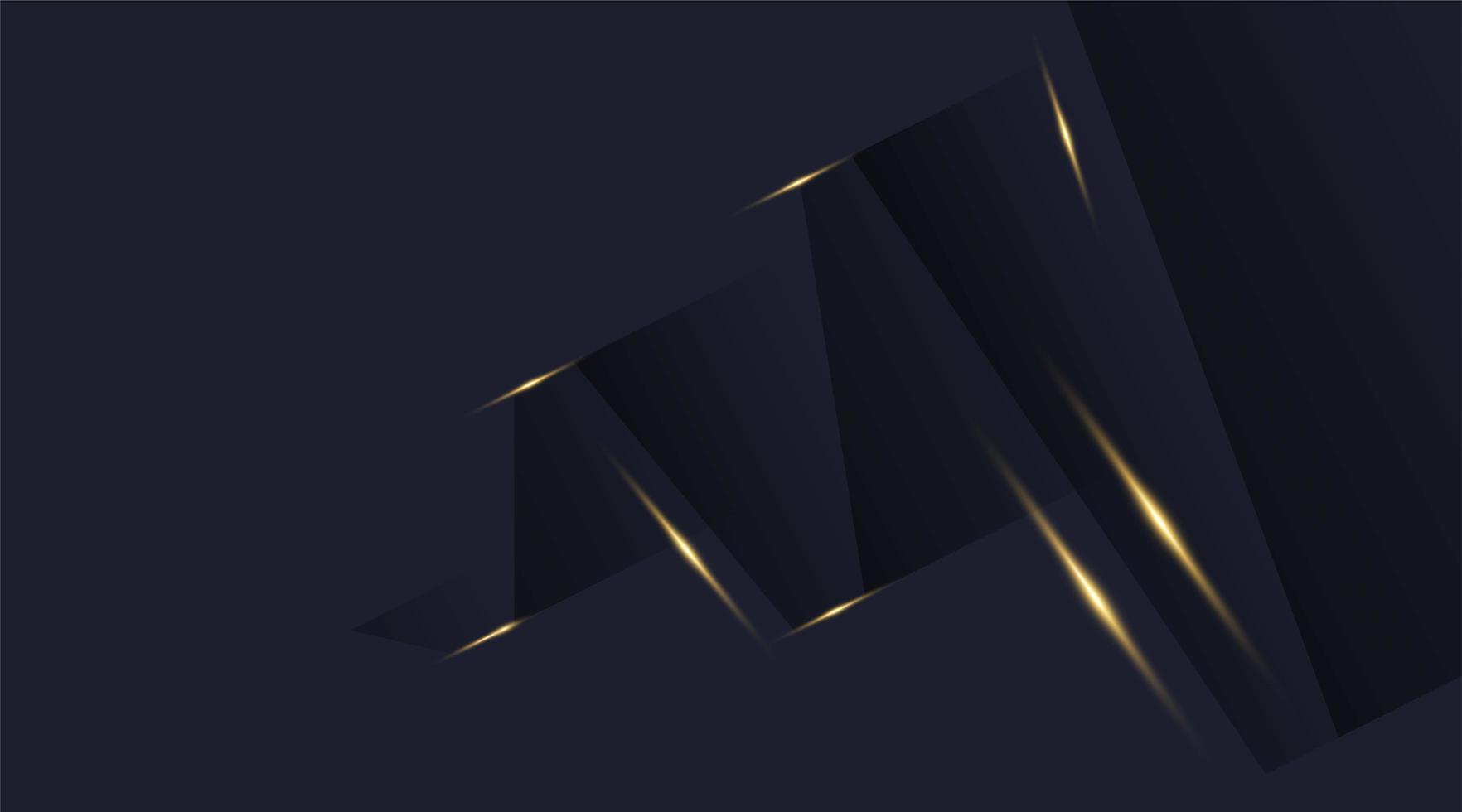 Hintergrund des Vektorgrafikdesigns, modernes abstraktes blaues Schwarz, dunkle Schatten und glänzender Goldschimmer vektor