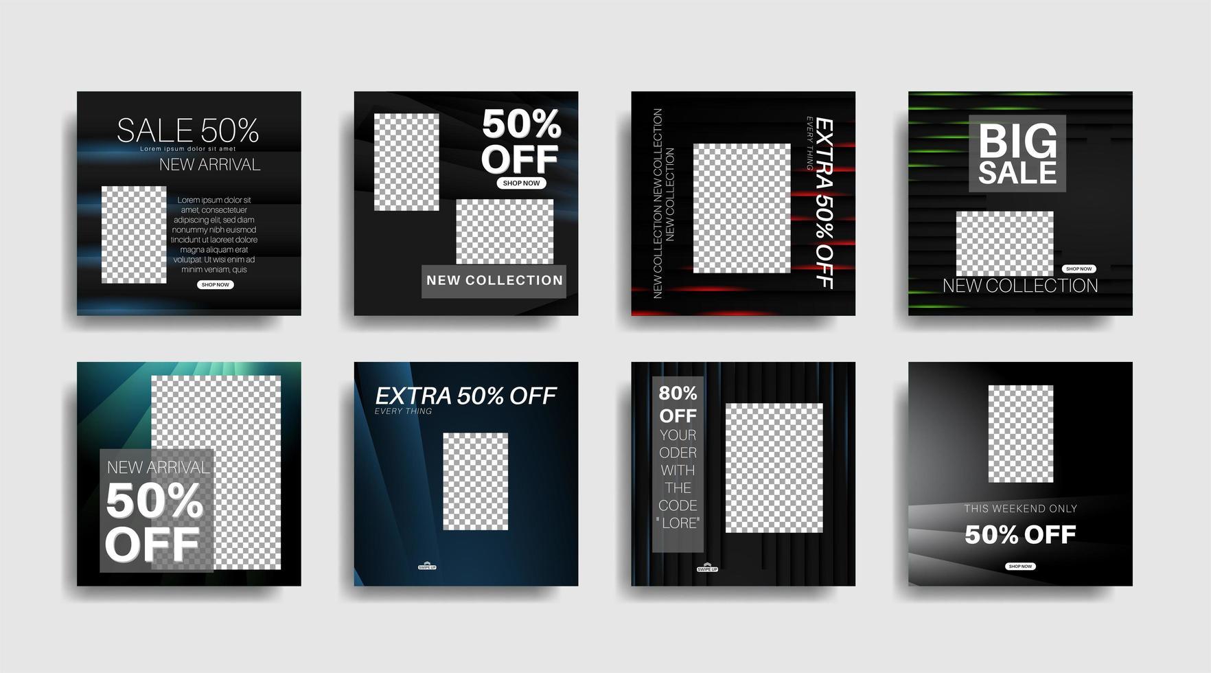modernes Werbequadrat-Webbanner für soziale Medien. Vektor-Design-Illustration vektor