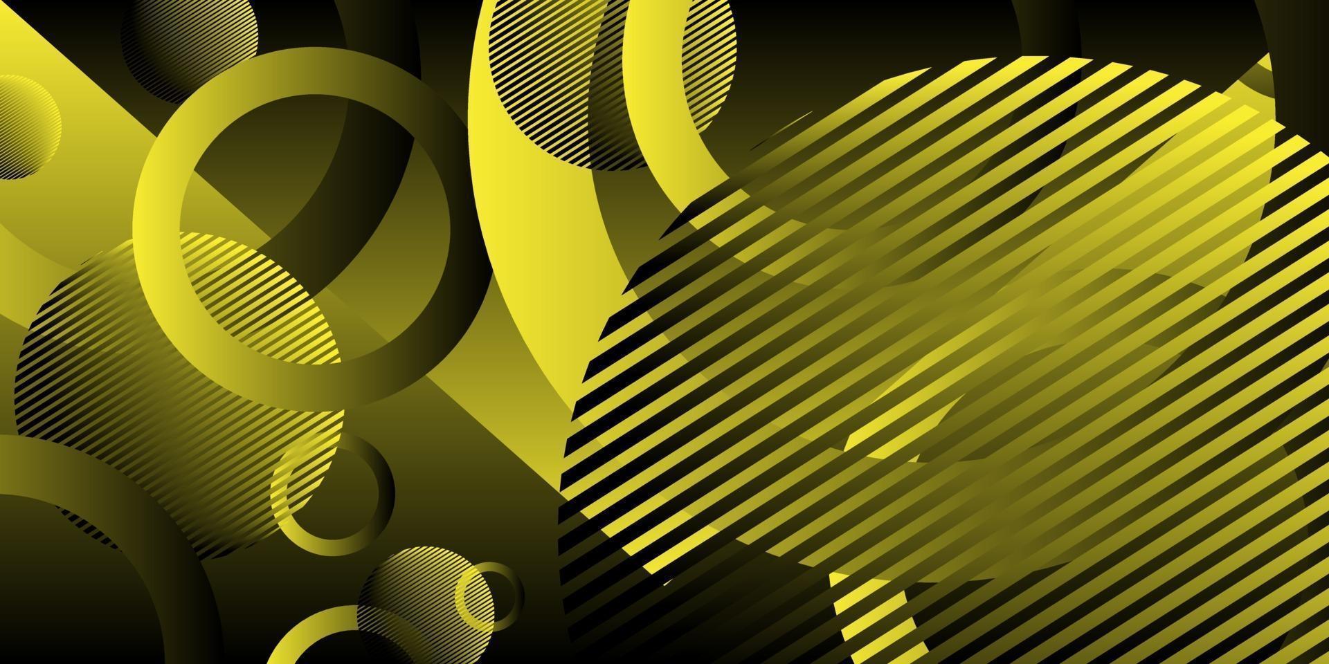 abstrakter Hintergrund gelbe schwarze Streifenfarbe mit Kreis vektor