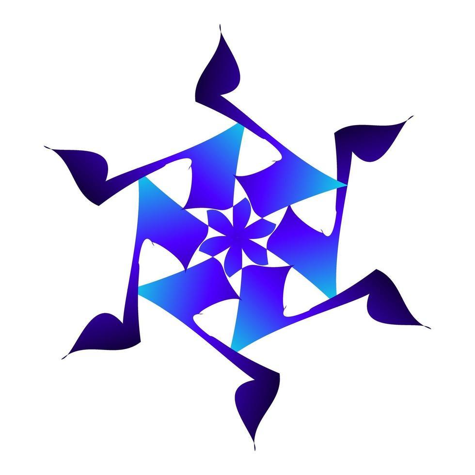 schönes Schneesternsymbol in blauer Farbe vektor