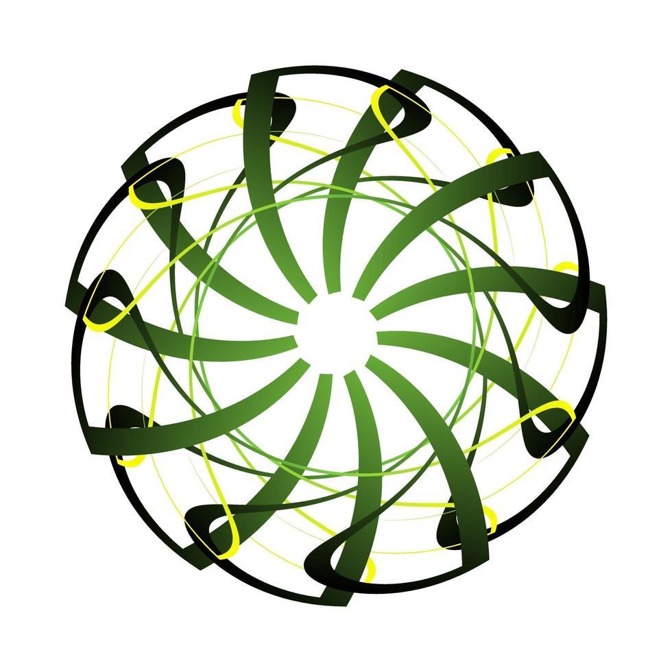 Übergang abstrakte Kreisverzierung in dunkelgrün gekleidet vektor