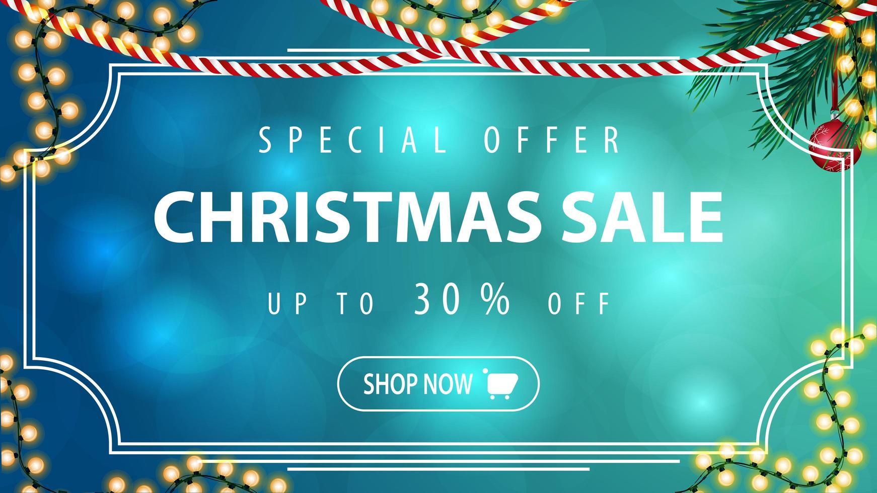 Sonderangebot, Weihnachtsverkauf, bis zu 30 Rabatt, blaues horizontales Rabattbanner mit Vintage-Rahmen, Girlande und Weihnachtsbaumzweig vektor