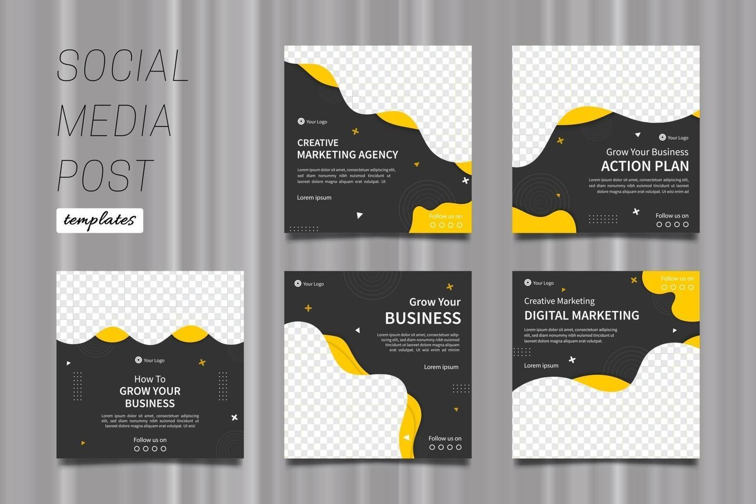 Kreativ-Marketing-Agentur Social Media Post-Vorlagen in gelb und grau. vektor