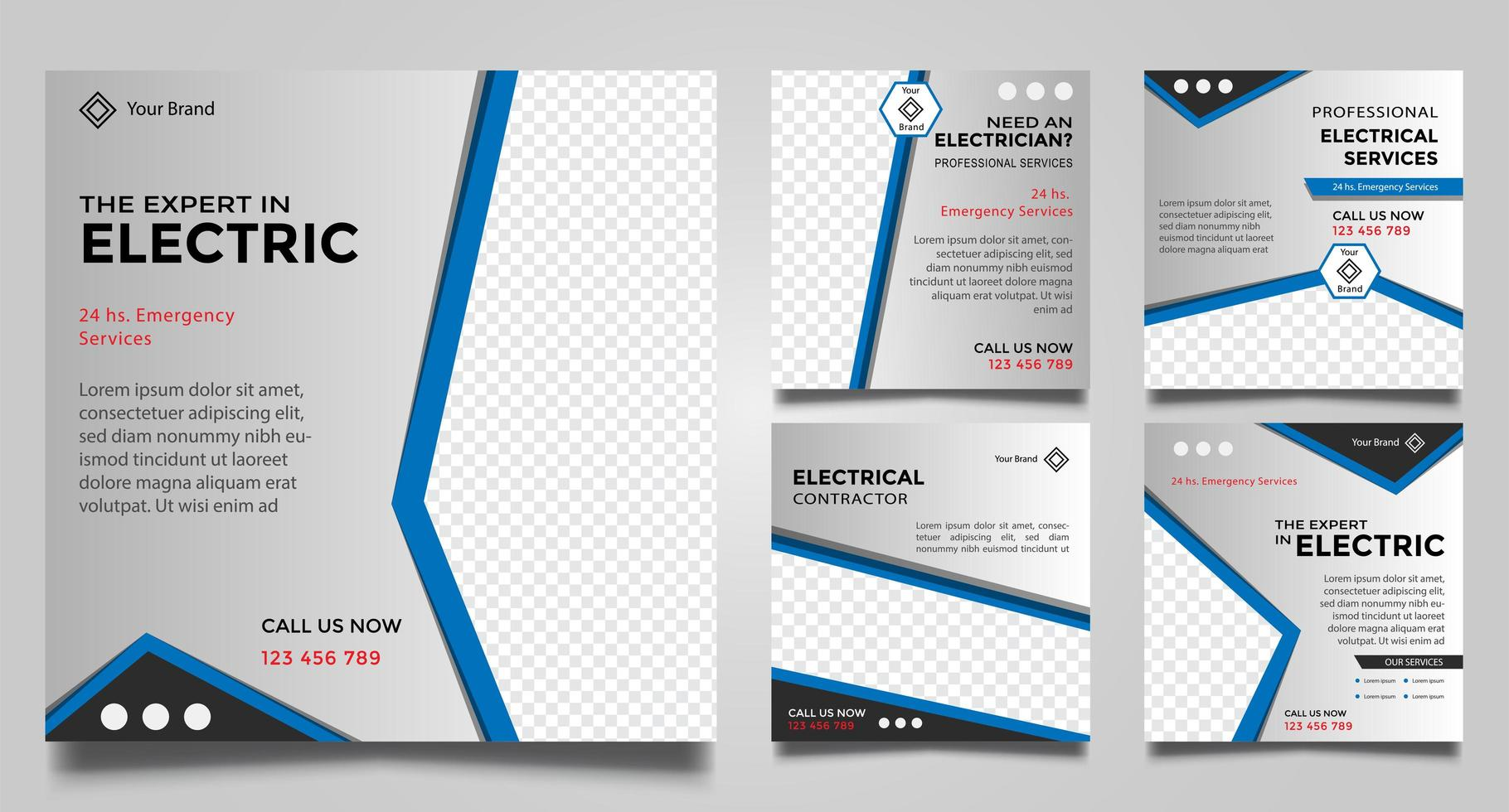 elektrische Service Social Media Post-Vorlagen. vektor