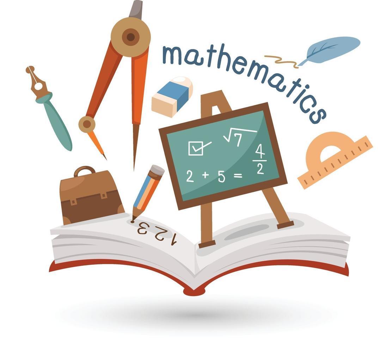 offenes Buch und Ikonen der Mathematik. Konzept der Bildung vektor