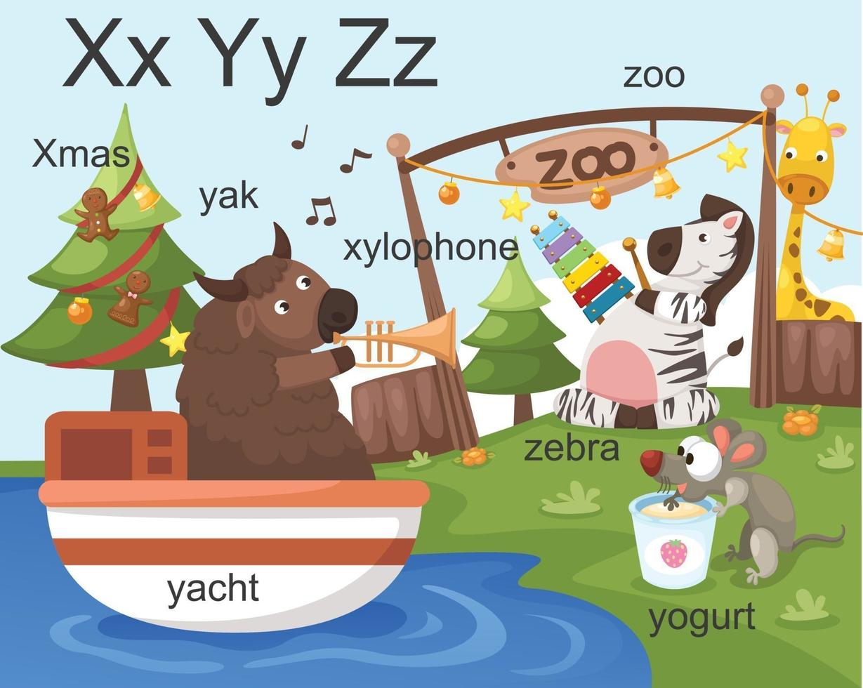 Alphabet XYZ Buchstabe Weihnachten, Xylophon, Yak, Yacht, Joghurt, Zoo, Zebra vektor