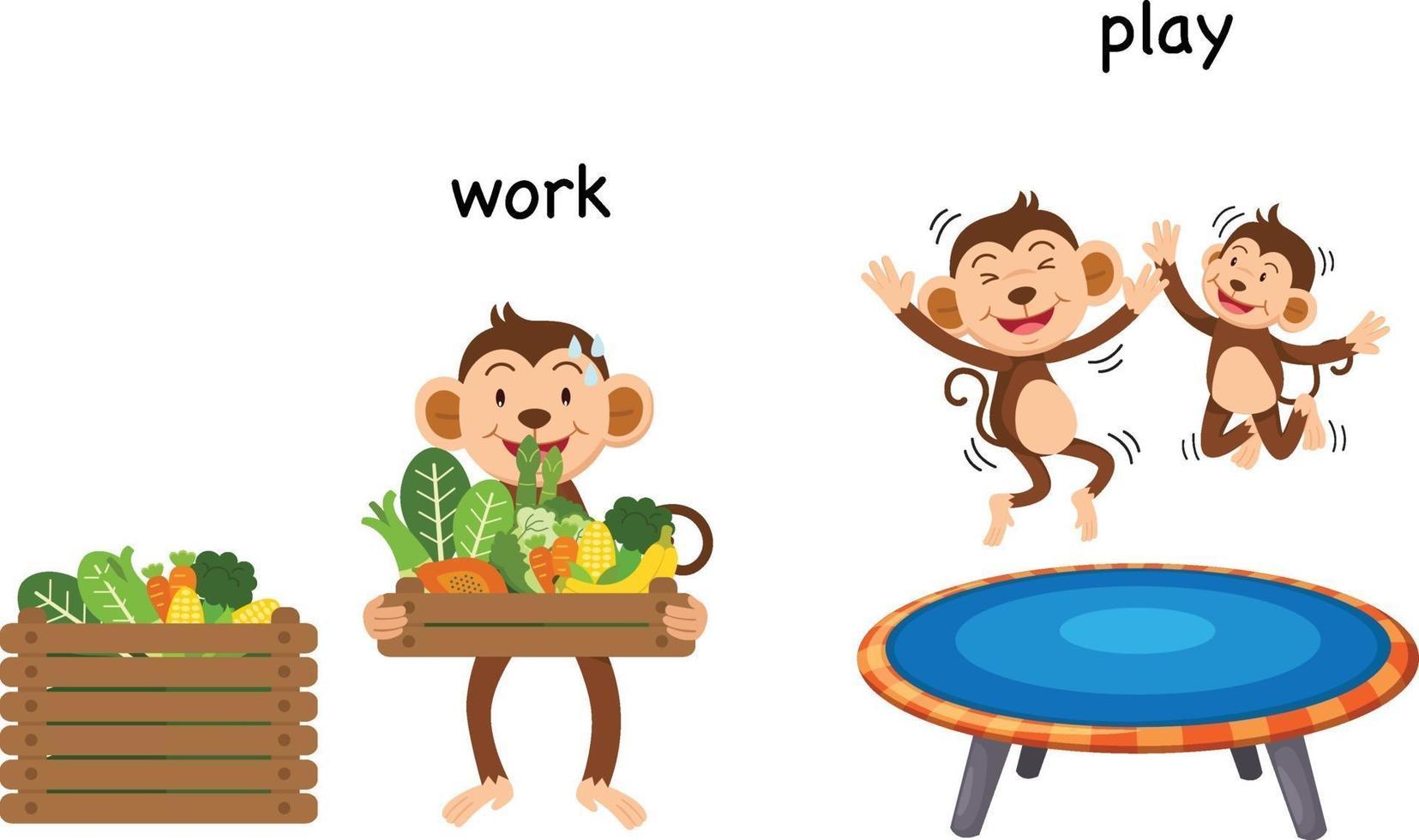 gegenüber Arbeit und Spiel Vektor-Illustration vektor
