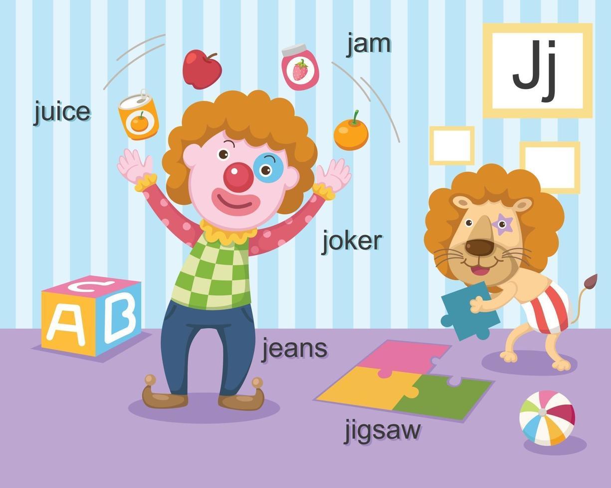 Alphabet J Brief Saft, Marmelade, Joker, Jeans, Puzzle. vektor