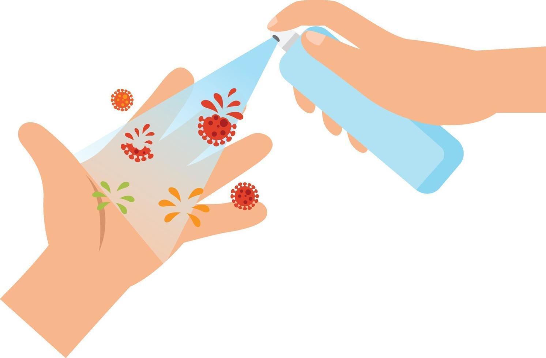 Reinigen Sie Ihre Hände mit Alkoholspray vektor