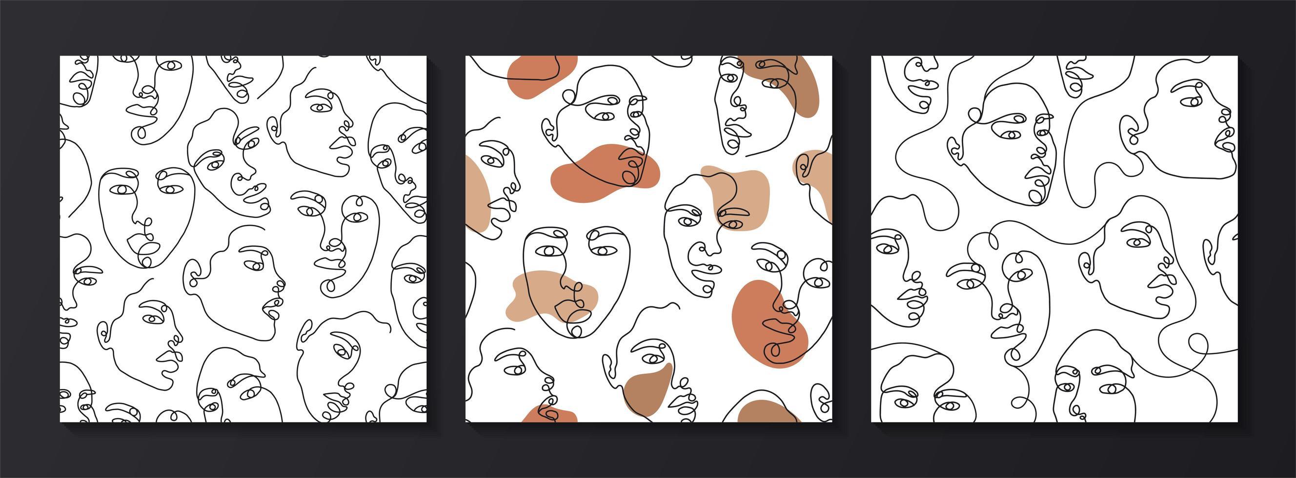 en linje ritning abstrakt ansikte sömlösa mönster vektor