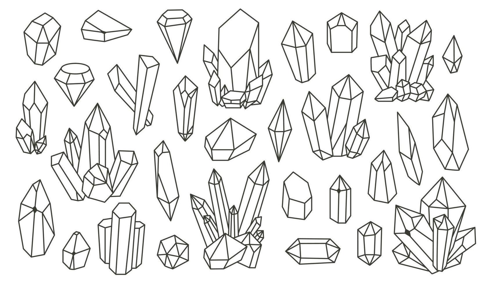 Satz von geometrischen Mineralien, Kristallen, Edelsteinen. geometrische handgezeichnete Formen. trendige Hipster Retro Hintergründe und Logos vektor