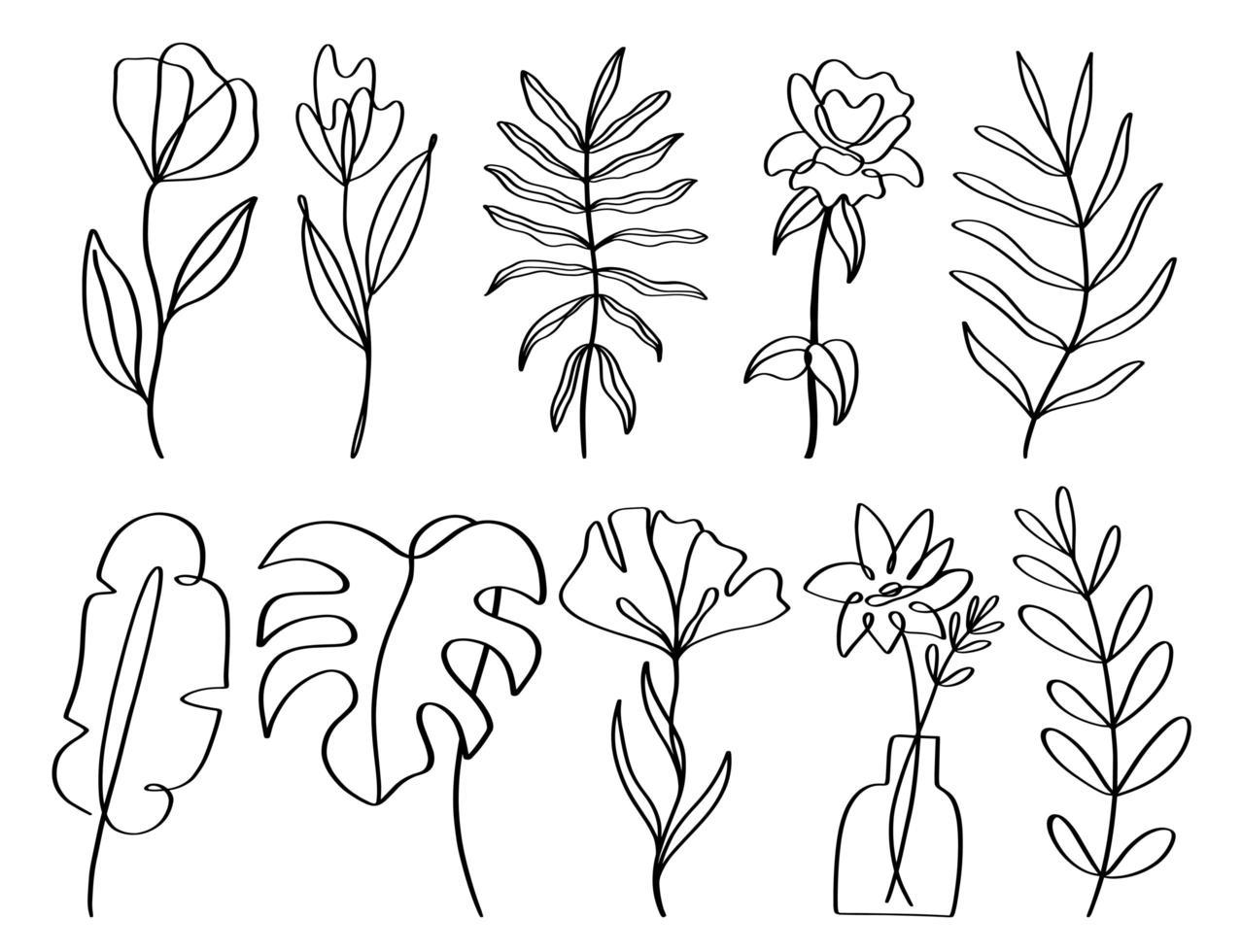 Satz zeitgenössisches einzeiliges handgezeichnetes Blumenelement vektor