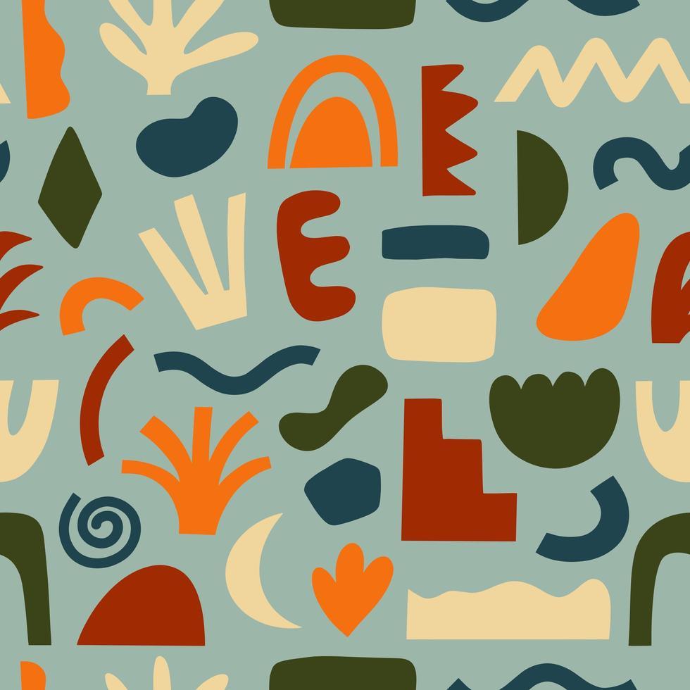 nahtlose Muster handgezeichnet verschiedene Formen und kritzeln Objekte vektor