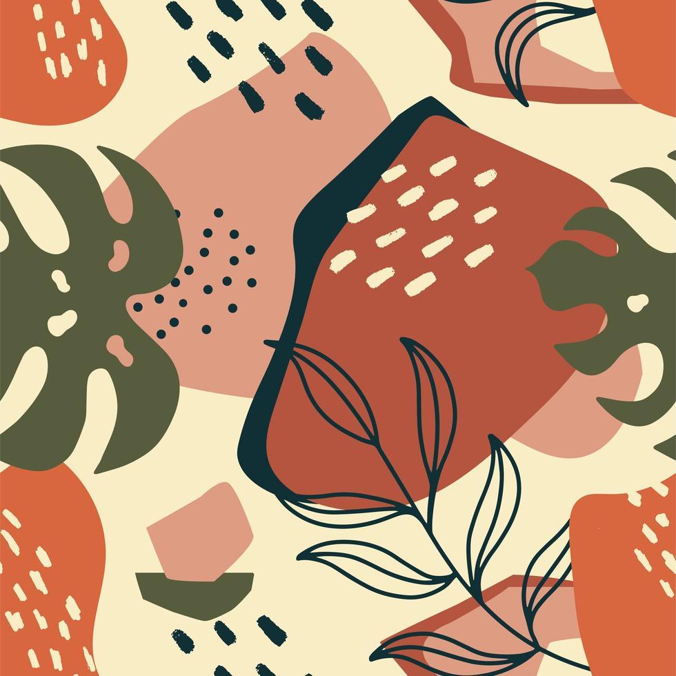 trendiges nahtloses exotisches Muster mit Palmblatt und geometrischen Elementen vektor