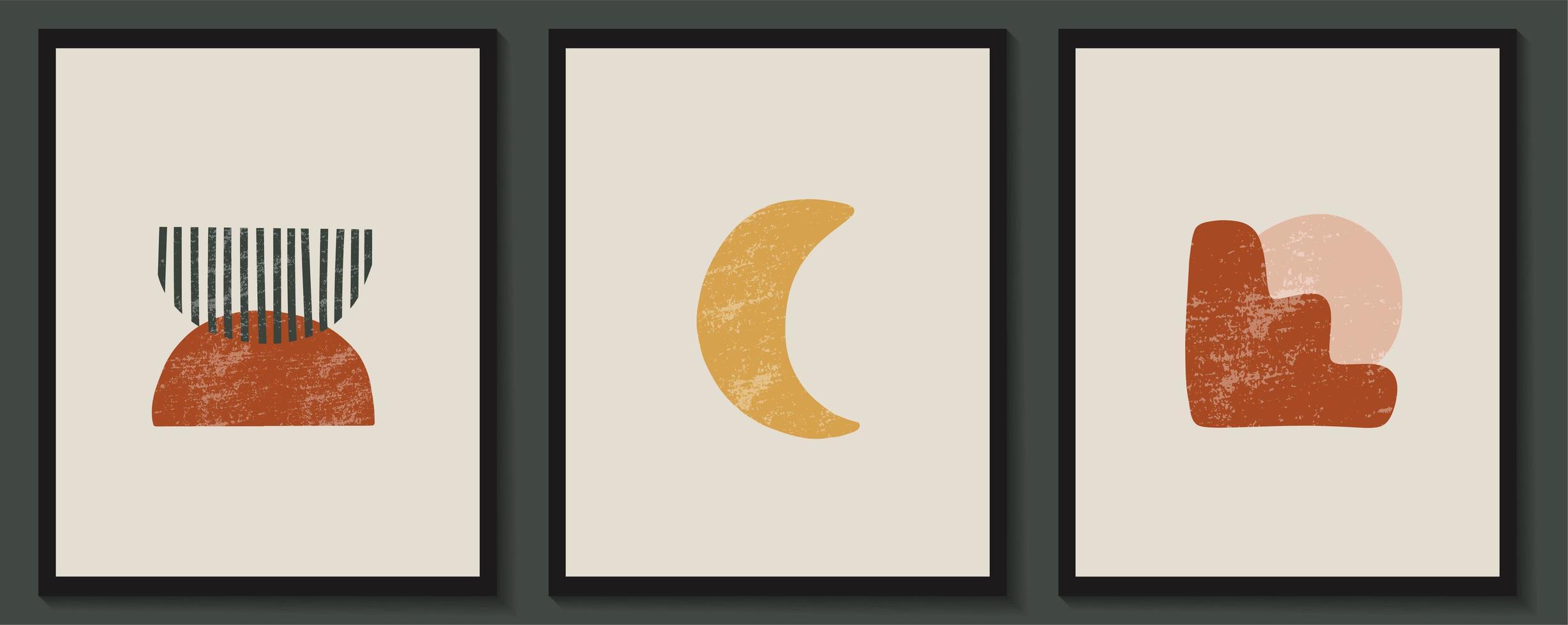 abstrakte zeitgenössische ästhetische Plakate mit geometrischen Formen vektor