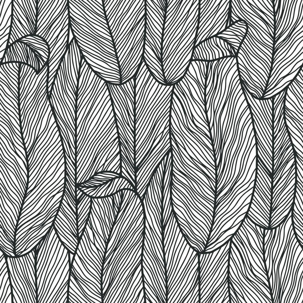 abstrakta botaniska sömlösa mönster i monokroma färger med konturteckningar blommor, feminina minimalistiska rena handritade vektor linjer för tyg textildesign och omslagspapper