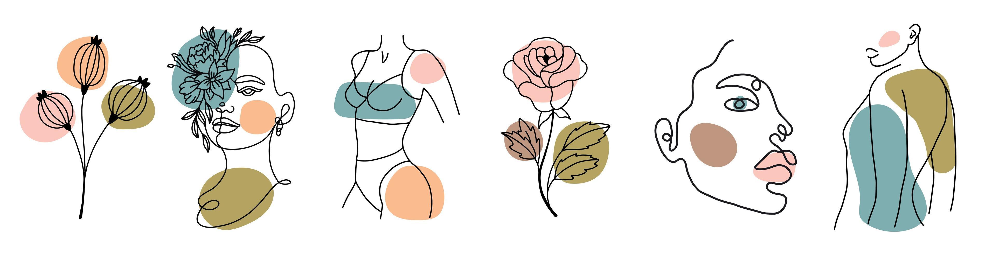 verschiedene Gesichter, Blätter und Körper, abstrakte Formen vektor
