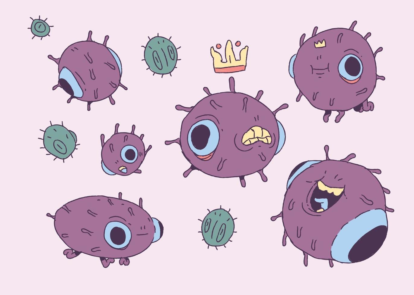 söt virus karaktär design hand stil doodle vektorillustration vektor